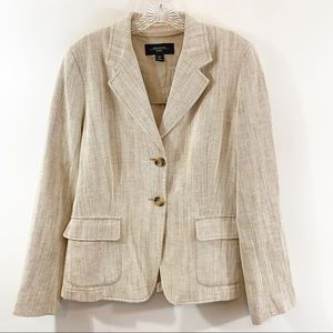 Max Mara Weekend Beige Chevron Blazer Sz 12